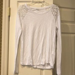 Tops - White Long Sleeve Lace Shirt Size Small